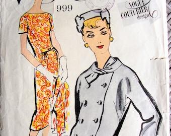 """Vintage Vogue Couturier Design no 999 1950s Size 14 Bust 34"""" Dress & Jacket Please read description"""