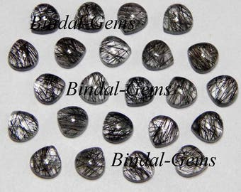 10 Pieces Lot Fine Quality Black Rutile Heart Shape Smooth Polished Gemstone Cabochon