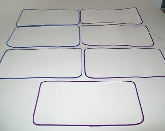 Seven Extra Large Blank White Sew-On Patches