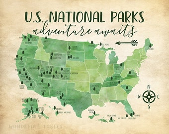 National Park Map Etsy - National parks in us map