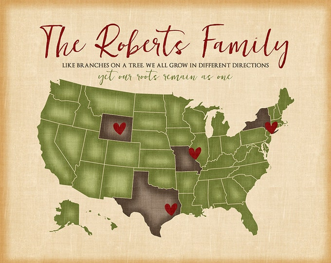 Family Map Showing Locations Family Lives - Distressed USA Map, Like Branches on a Tree Quote, Roots, Family Heritage, Grandparents | WF528