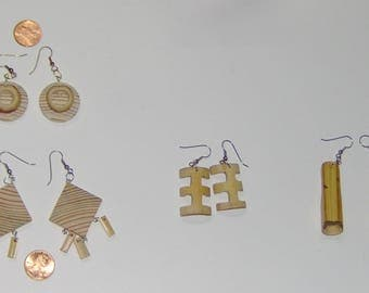 Handcraft Wood Earrings Bamboo/Wood Earrings Dangle Chandelier Natural Bamboo For The Fun in You!