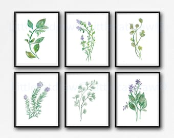 Garden Herb Print Set of 6 Watercolor Green Botanical Kitchen Wall Art Home Decor Art Prints