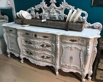 Stunning Antique hand painted and distressed Dresser and King Size Bed