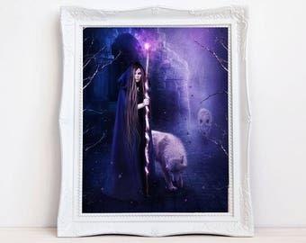 Sorceress artwork, Witch print, fantasy witch, wolf and witch, purple artwork, white wolf, magic staff, fantasy decor, Gothic art, pretty