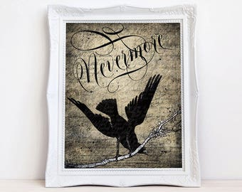 Nevermore Quoth Raven art print, Vintage crow raven, Edgar Allen Poe, Gothic bird wall decor antique style