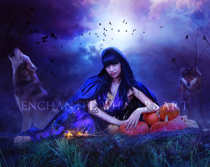 Beautiful Halloween Witch with wolves art print