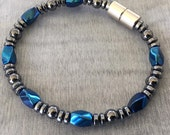 Magnetic Bracelet featuring Blue Titanium finish Magnetic Beads with 7mm Magnetic Clasp ~