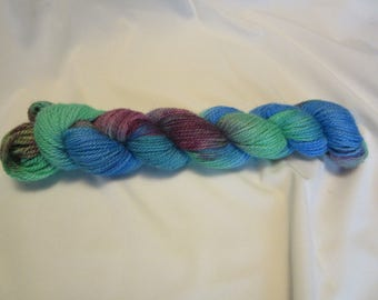 Hand Dyed/Painted - Green, Blue and Burgundy - 3 Ply Worsted Weight Alpaca Yarn - Grade 2- Superfine - 3.5 oz. - 200 Yds - 9-11 WPI