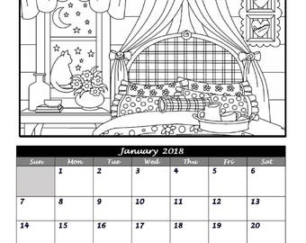 2018 Home Sweet Kitty Home Coloring Page Calendar, Adult Coloring, Cat Calendar