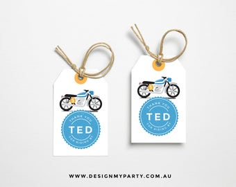 Motorbike Thank You Lolly Bag Party Tags (Personalised DIY Printables)