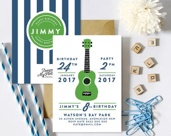 Guitar Birthday Party Invitations (Personalised Printables)