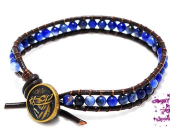 Single Ladder Wrap Bracelet, Sodalite Gemstone, Brown Leather Cord, with Metal Antique Bronze Horse Head Button Clasp
