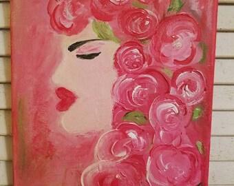 Flowers in Her Hair Painting