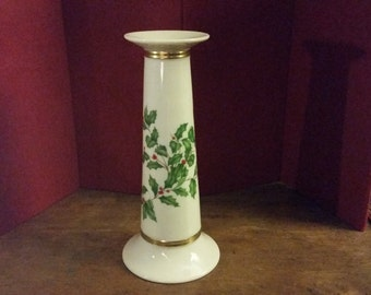 Candlestick Lenox Christmas Holiday Holly Berries Cream White Gilded Vintage Xmas