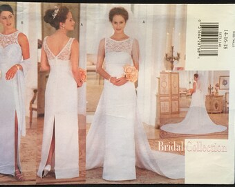 Butterick,Wedding/Evening Gown w Lace Overlay,Sweetheart Neckline,V-Back,Side or Back Slit, Scarf & Detachable Train Size 14-18 Pattern 5873