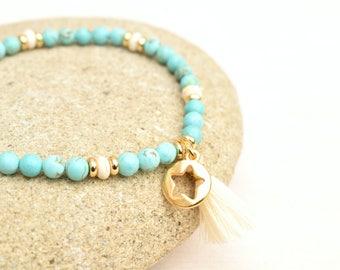 Tassel bracelet,  Boho jewelry, Turquoise bracelet, Beaded bracelet, Turquoise jewelry, Ivory bracelet, Gift for her, Boho beaded bracelet