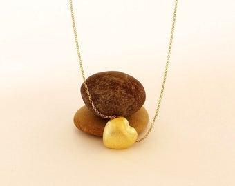 Brushed Gold Heart Pendant Necklace, Brushed Gold Heart Necklace, Pendant Necklace, Brushed Gold Heart, Handmade Heart Necklace, 3D Pendant