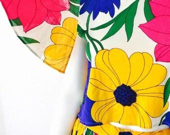 Vintage 70s Floral Vibrant Two piece Boho Polyester Skirt and Flutter Crop Top Set