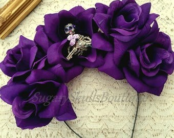 Book of Life, Dia de los Muertos Wedding Headband, Sugar Skull Headpiece and Roses, Halloween Prop, Costume Day of the Dead