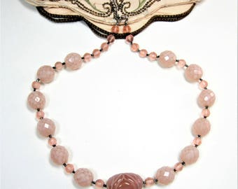 Vintage peach color glass beads necklace