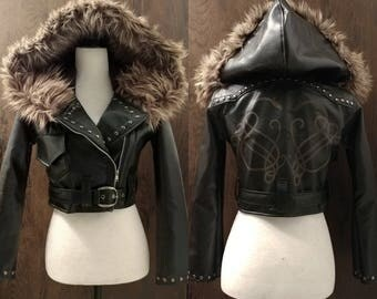 Viking dragon biker jacket