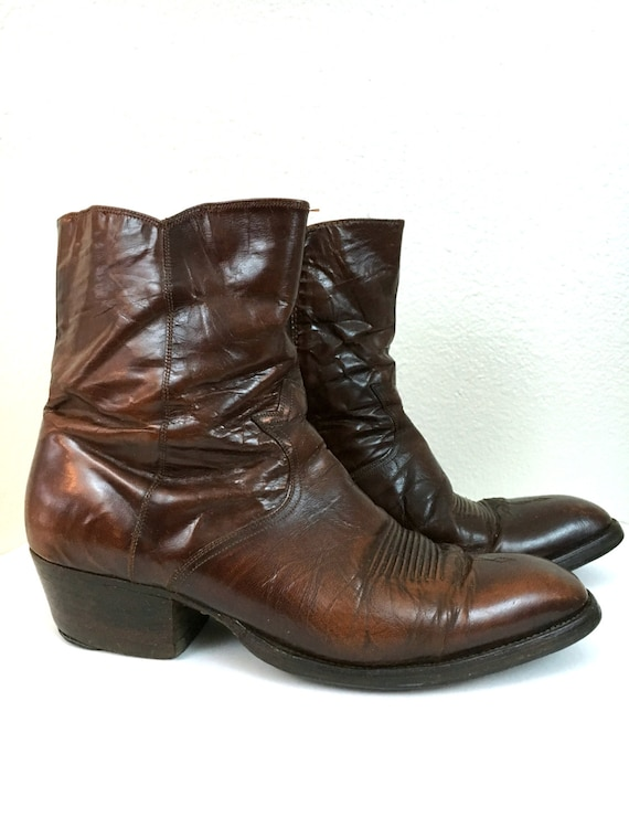 Vintage Dan Post Boots, Leather Cowboy Boots, Size 11 Ankle Boots, Original Spanish Boots, Brown  Leather Beatles Boots, 1970's Zipper Boots