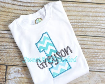 Boys First (1st) Birthday Shirt or tee - Baby Boy chevron Cake Smash Outfit, 1st Birthday Shirt, baby boy birthday outfit, personalized