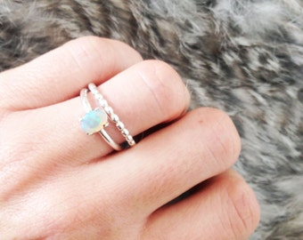14 Ct White Gold Opal Wedding Ring Set.Opal Engagement Ring .Boho Wedding.