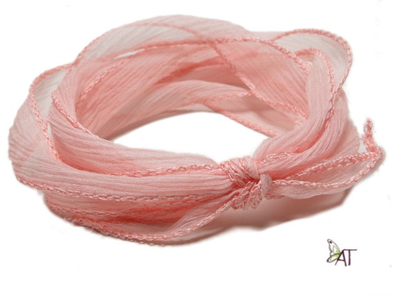 100 Silk Crinkle Ribbon Hand Dyed Salmon From