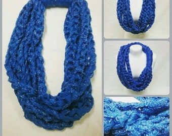 Layered Chain Scarf - Blue