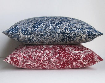 Navy Red Pillow Cover, Paisley Pillow Cover, Decorative Throw Pillow, Floral 16x16 18x18 20x20 22x22 12x14 12x16 12x18 12x20 14x22 Zipper