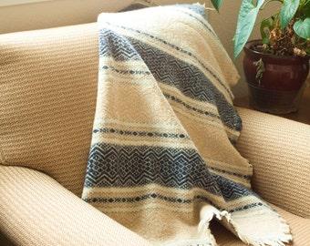 Vintage Small Faribo MESA Blue and Tan Wool Lap Blanket Throw, Stadium Blanket with Fringe, Faribault Woolen Mill, Cabin Decor, 36x33