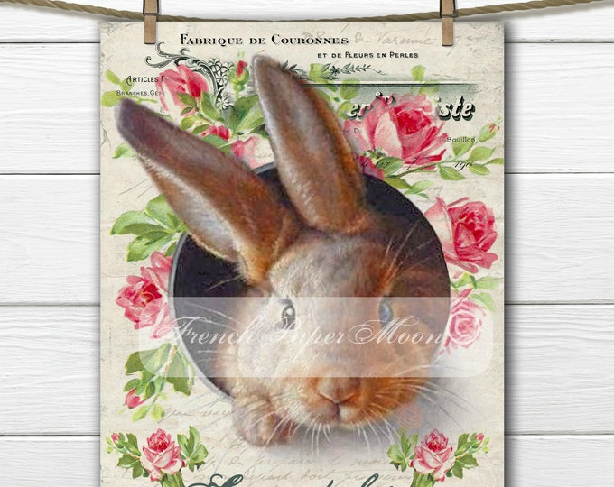 Vintage Digital Shabby Chic Bunny, Easter Bunny, Rabbit, French Graphics, French Easter Pillow Transfer Graphic, Instant Download