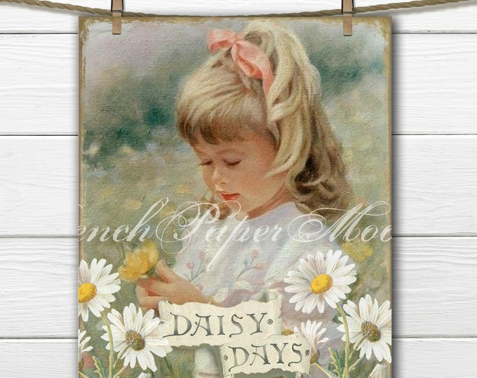 Vintage Springtime Collage Sheet, Shabby Chic Vintage Girl, Daisies, Pillow Transfer Image, Digital Download
