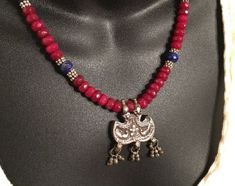Antique Rajasthan silver bird pendant strung on Brazilian ruby & lapis necklace