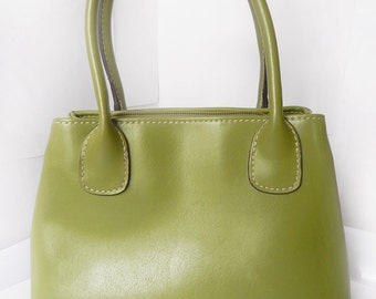 Vintage Liz Claiborne Purse, GREEN Faux Leather Small Handbag, Ladies Fashion