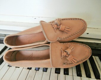 1990's, Sperry, Top Siders, Slip On, Light Tan, Leather Loafers, Tassels, Women's Size 7 Medium