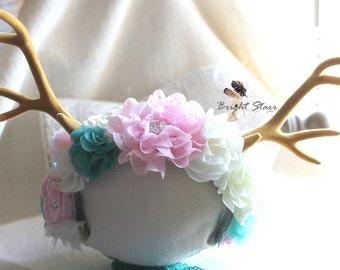 Deer headband - antler headband - antlers headpiece - deer ears headband - girls flower headbands - Christmas headband - birthday headband