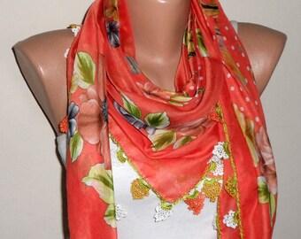 orange scarf flower scarf cotton scarf turkish yemeni oya scarf handmade woman scarf fashion accessories gift for her