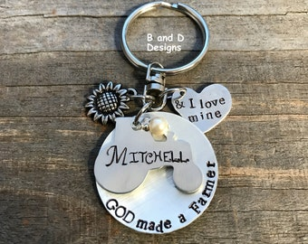 GOD made a farmer and I love mine keychain