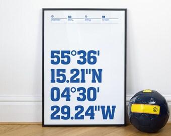Kilmarnock Football Stadium Coordinates Posters