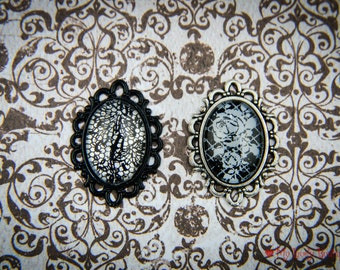 Lace twins Bindis - special set of two jewels for the foreheads - gothic accessories - black & white