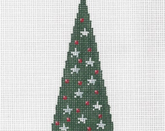"Needlepoint Handpainted Sandra GILMORE Christmas TREE B  2"" x 5.25"" -Free US Shipping!!!"