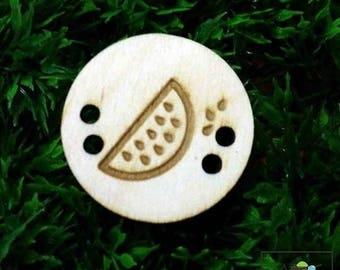 watermelon button, wood button