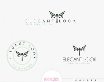 Dragonfly 3 logo-  -  Premade Photography Logo and Watermark, Classic Elegant Script Font GOLD GLITTER butterfly children Calligraphy Logo