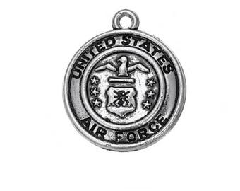 Air Force Emblem Charm - Military Charm - Silver Pendant - DIY Charm - Antique Silver - Jewelry Supplies - Pewter Necklace Charm
