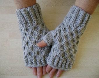 Textured Light Grey Fingerless Gloves. Hand Warmers. Fingerless Mittens. Hand Knit.