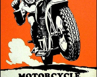 Motorcycle Football 1930 Vintage Poster Print German Sports Soccer Hohlwein Art
