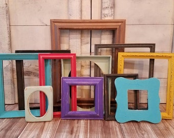 Picture Frame Collage ~ Wall Decor ~ Colorful Gallery Wall Frames ~ Boho Decor ~ Vintage Upcycled Frames ~ Gallery Wall Frame Set